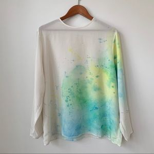VINTAGE   HAND PAINTED WATERCOLOR LIGHTWEIGHT FLOWY BLOUSE